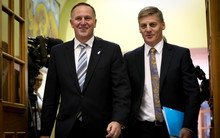 John Key (left) and Bill English on their way to announce the 2015 Budget.