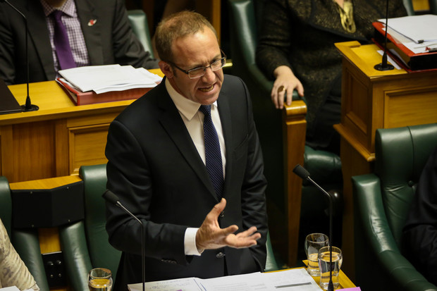 Andrew Little grilling Bill English's 2015 Budget in parliament house.