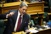 Winston Peters giving his 2015 Budget speech.