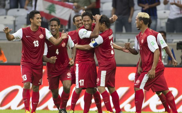 Tahiti players celebrate a goal during the 2013 FIFA Confederations Cup in Brazil.