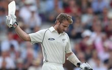 The Black Caps batsman Kane Williamson celebrates his century.