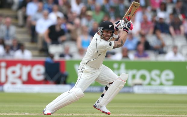 Captain Brendon McCullum off the mark with a first ball four, Lord's 2015.
