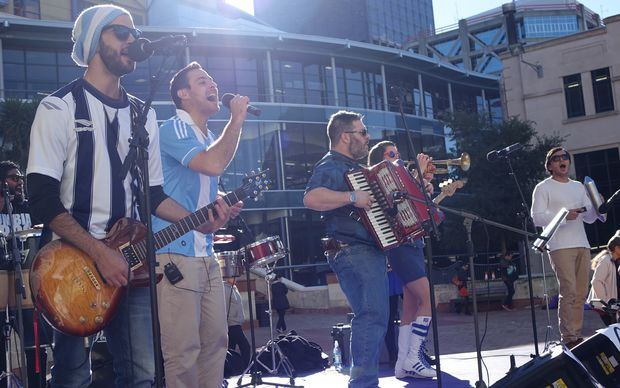 "'Cumbia Bros' at the ""Fever Pitch Fan Hub"" in Civic Square"