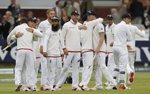 England players celebrate the win over New Zealand at Lord's.