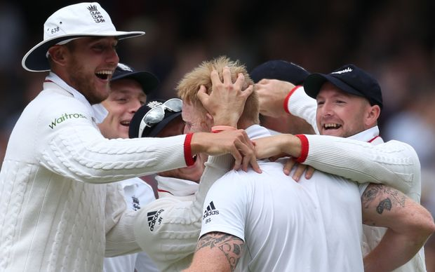 The New Zealand Captain Brendon McCullum is bowled first ball by Ben Stokes (centre) during the first Test between England and New Zealand at Lord's Cricket Ground.