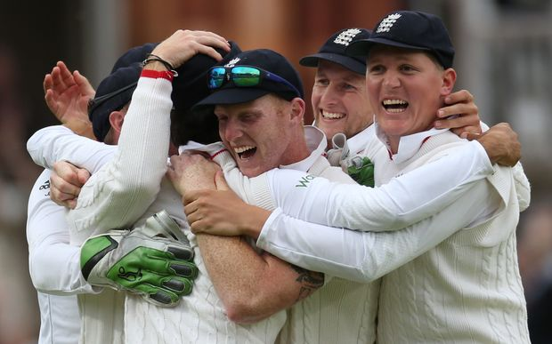 The England all-rounder Ben Stokes (centre) celebrates their test win over New Zealand at Lord's with his team-mates.