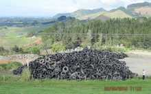The tyres are being stored on farmland in Taupo and here at a quarry in Waihi Beach.