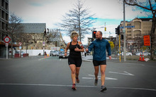 Christchurch Marathon Event Manager Sheree Stevens and Reporter Conan Young through the course.