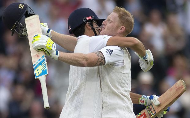 Ben Stokes (right) and Alastair Cook celebrate Stokes scoring the fastest test century at Lord's.