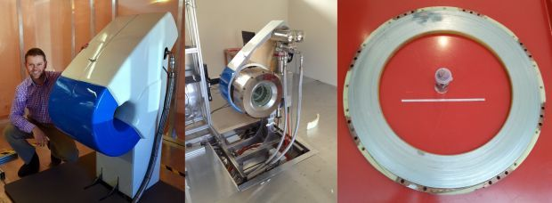 Photos from left to right of Rob Slade and the experimental MRI, the MRI with covers half off, and a pancake coil