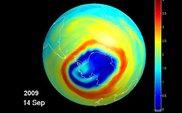 The hole in the ozone layer above Antarctica in 2009. The area in blue indicates low ozone concentration in the lower stratosphere.