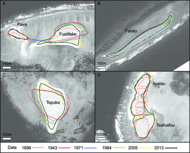 Figure 2. Changes in planform characteristics of selected reef islands in Funafuti