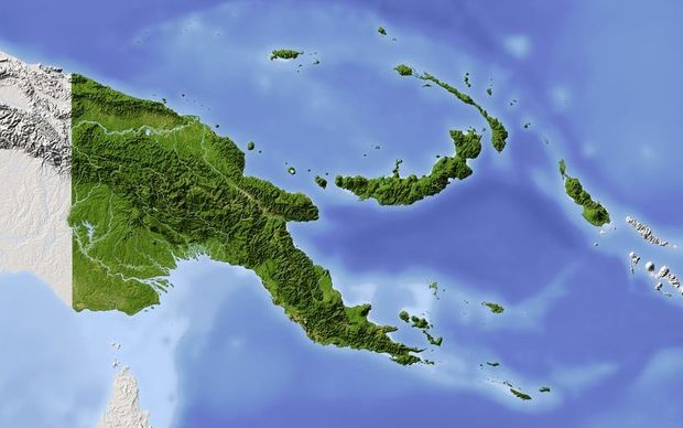 Papua New Guinea showing border with Indonesia's Papua region