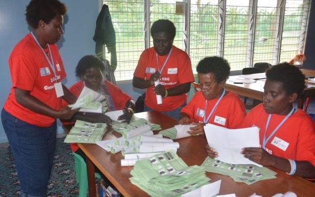 Bougainville election officials check ballot papers