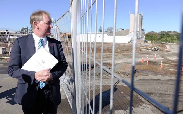 Nick Smith at a housing development in Three Kings in Auckland.