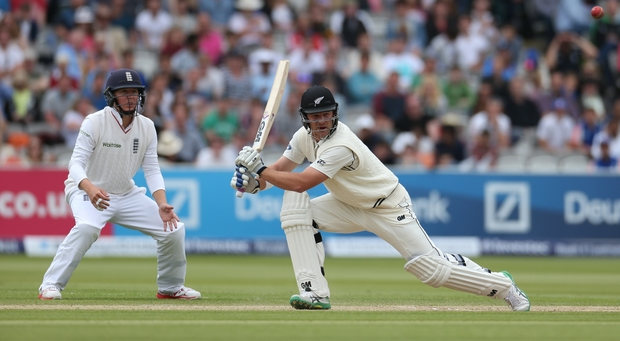 Corey Anderson bats during the first Investec Test Match between England and New Zealand at Lord's Cricket Ground, London.