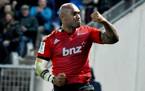 The Crusaders' winger Nemani Nadolo celebrates his try.
