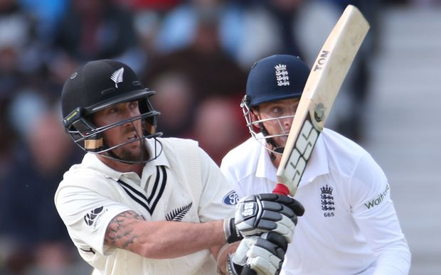 The Black Caps wicketkeeper/batsman Luke Ronchi sweeps England's Moeen Ali for six during the second test at Headingley.