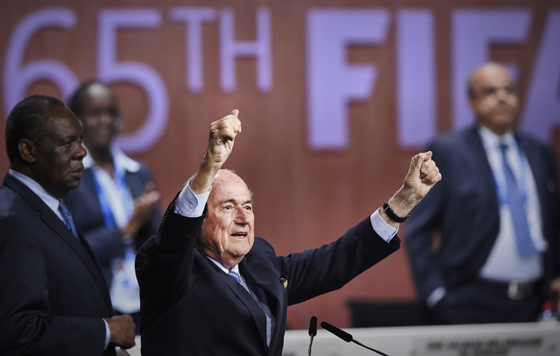 Sepp Blatter reacts after his re-election as president of FIFA in Zurich.