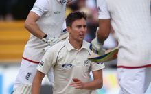 The New Zealand paceman Trent Boult bowling in the second test against England.
