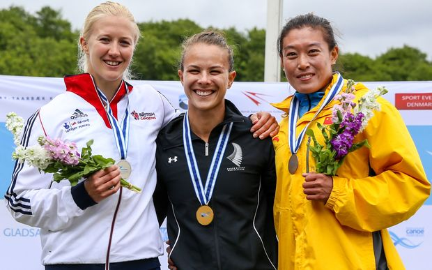 Medalists of the women's K1 500m event (L-R): Rachel Cawthorne (GBR), Lisa Carrington (NZL), Yu Zhou (CHN) in Copenhagen, Denmark at the ICF Canoe Sprint World Cup.