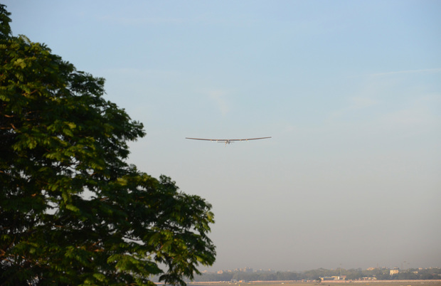 Solar Impulse 2 takes off from the Sardar Vallabhbhai Patel International Airport in Ahmedabad, India, on 18 March.