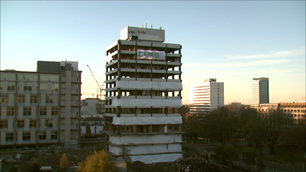 Former Christchurch police station before implosion