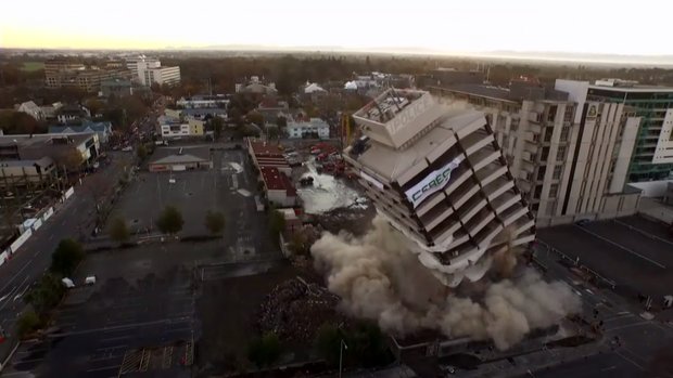 Christchurch police station implosion