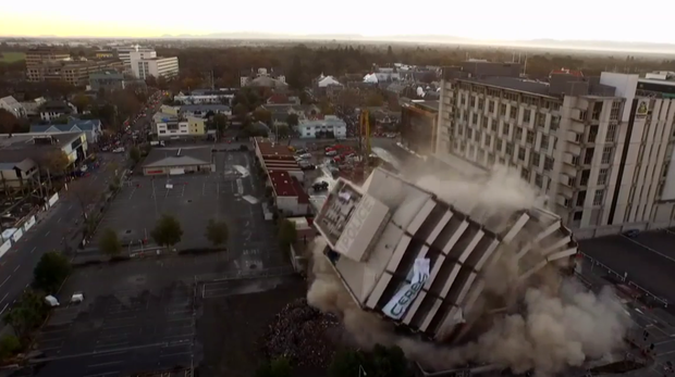 Chch police station implosion