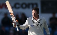 New Zealand's BJ Watling celebrates his century during the second Test against England at Headingley, Leeds.