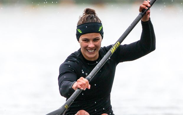 The New Zealand kayaker Lisa Carrington in World Cup action.