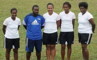 Vanuatu Women's Football Development Officer, Joel Rarua, with members of his committee