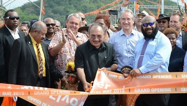 Papua New Guinea Prime Minister Peter O'Neill officially opens the Kumul Flyover in Port Moresby.