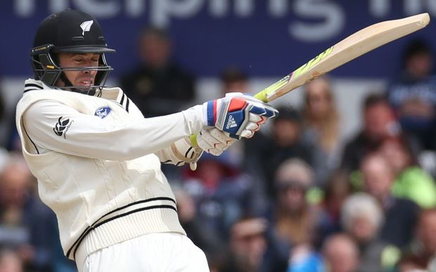 New Zealand's Tim Southee hits a four off James Anderson, during the second Test against England at Headingley.