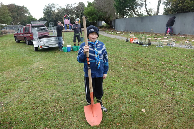 Scout Alex Neil, 10, was one of the volunteers who helped at the Greening the Redzone's planting day.
