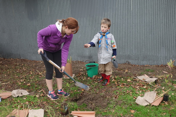 Ashley Costello and her son Archie were helping to plant natives at the redzoned Halberg Reserve, in Dallington.