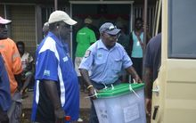 Full ballot boxes being transported for counting in Bougainville