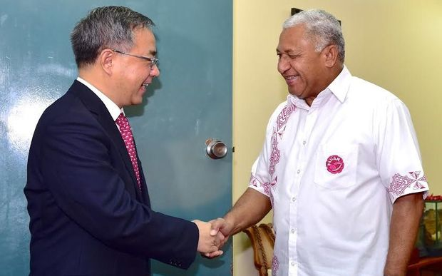 Fiji Prime Minister Frank Bainimarama receives Guangdong Provincial Party Secretary, Mr Hu Chunhua, in Suva in June 2015