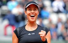 The Serbian tennis player Ana Ivanovic celebrates her quarter-final win at the French Open.