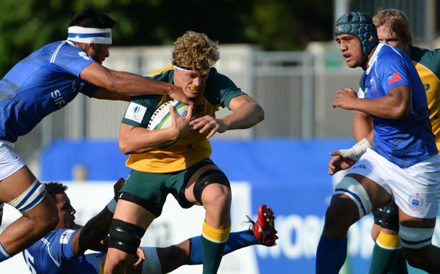 Australia challenges the Samoa defence at the World Rugby U20 Championship.