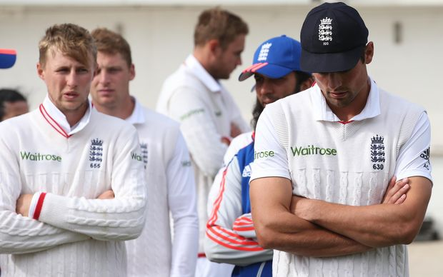 England cricket captain Alastair Cook (right) appears to have the weight of the world of on his shoulders at times.