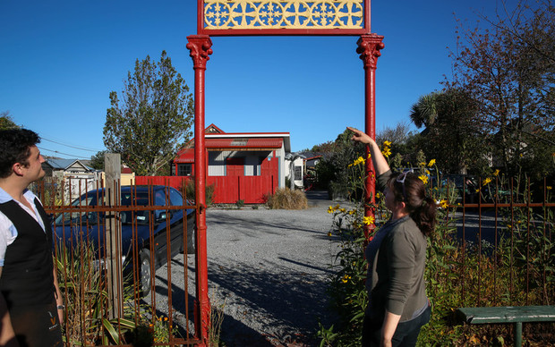 Red Verandah Cafe owner, Amanda Heasley showing the old entrance to her cafe pre-quake.