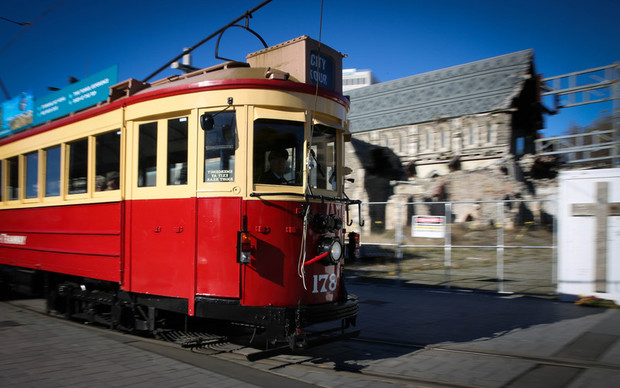 Tram passing the Christchurch Cathedral.
