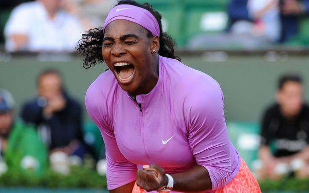 Top seed Serena Williams celebrates after winning her match at the 2015 French Open.