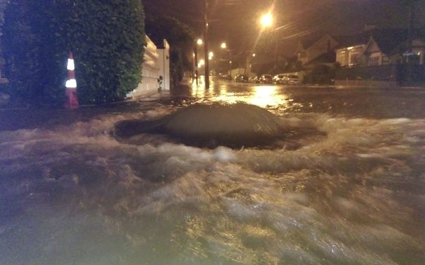 Water flooding back out of drains in Forbury Road, St Clair, at 9pm Wednesday 3 June.