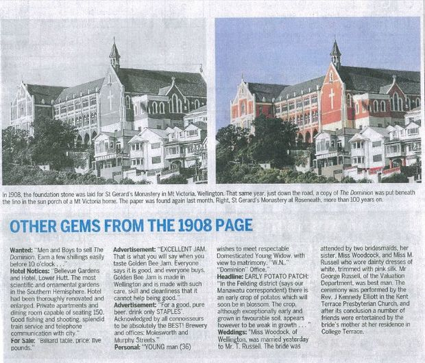 The Dominion Post doubles up with identical images, and later admits the black-and-white one isn't historic.
