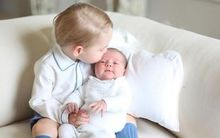 Prince George and Princess Charlotte together at home.