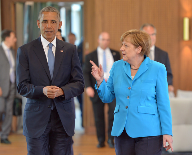 German Chancellor Angela Merkel and US President Barack Obama in southern Germany for the G7 summit.