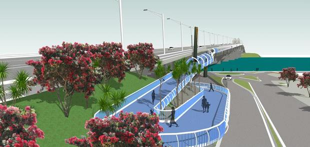 A graphic showing the entrance to the proposed walkway.