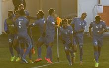 Fiji players celebrate a goal against Honduras at the FIFA Under 20 World Cup.